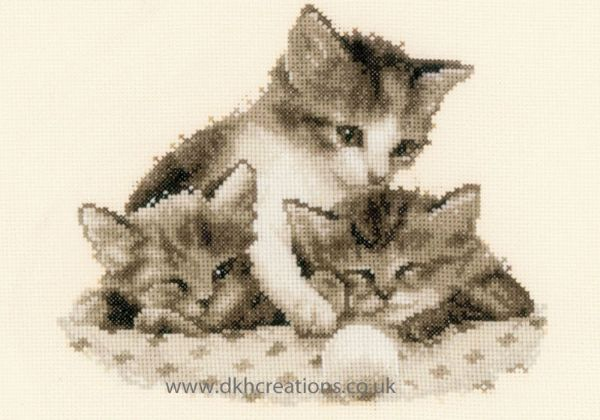 Three Little Kittens Sepia Cross Stitch Kit